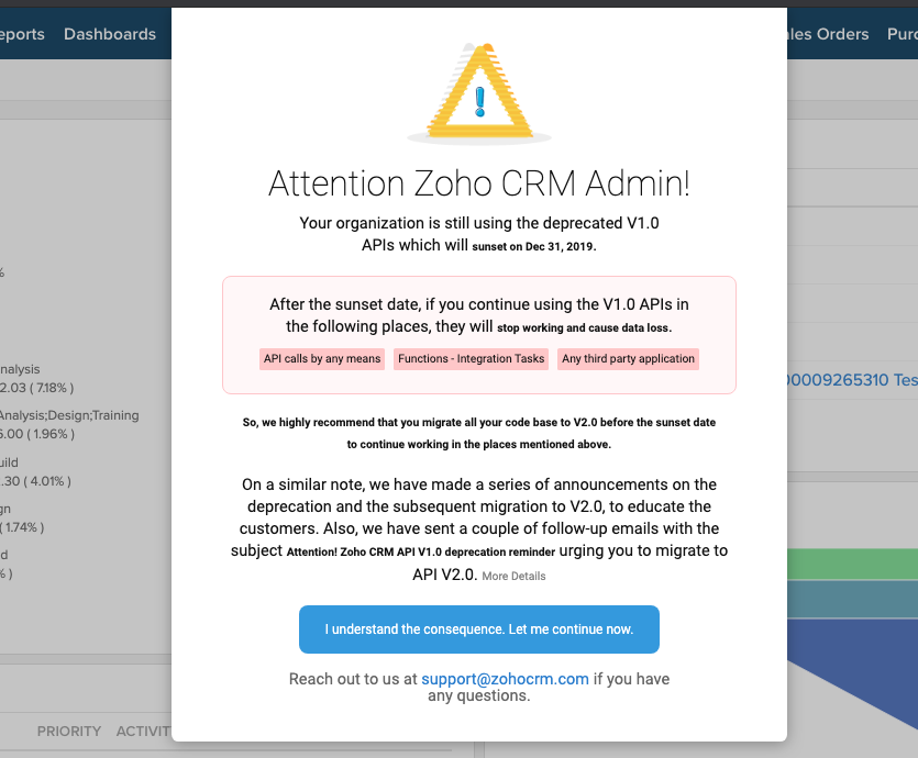 how to upgrade zoho crm api